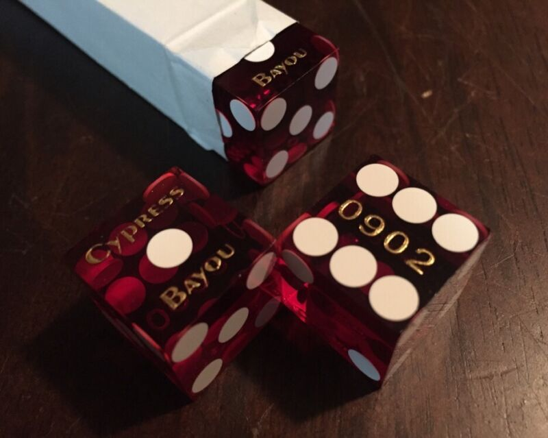 Cypress Bayou Casino Craps Dice Set - Packaged Numbered Cancelled Used Paulson