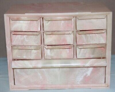 Vintage Akro-mills Usa Marbleized Pink Plastic 10 Drawer Parts Cabinet