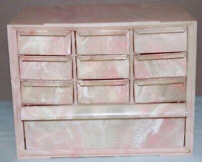 Vintage Akro-Mills USA Marbleized Pink Plastic 10 Drawer