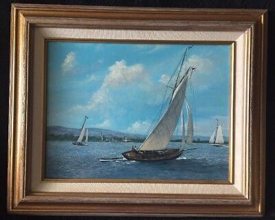 Nautical Canvas Oil Painting with Sailing Yachts by Scott Duncan, Stamped