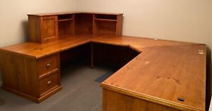 Large Office Desk with drawers and top shelving