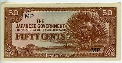 Malaya Japanese WWII occupation 50 Cent Note Uncirculated