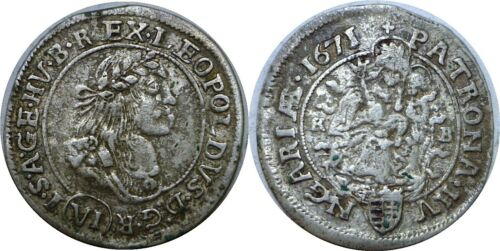 "1671 KB Hungary Silver 6 Krajczar Leopold I ""The Hogmouth"" KM# 164"
