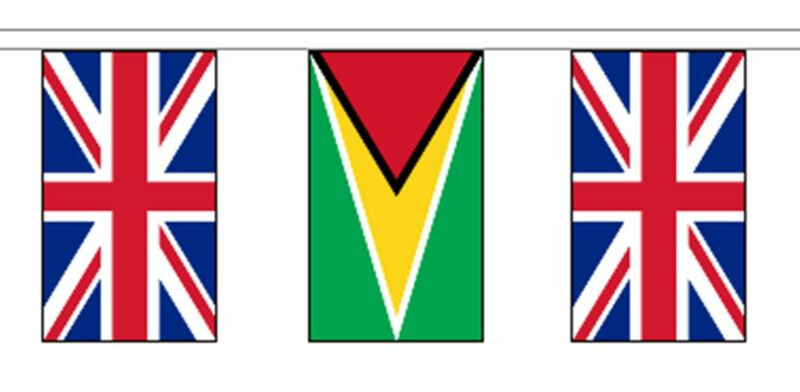 Guyana & United Kingdom UK Polyester Flag Bunting - 20m with 56 Flags