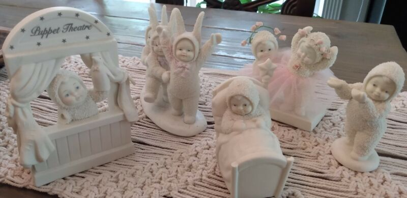 Snow babies lot of 5 : Breakfast in bed, Puppet Show, Bunny Hop, Too Cute