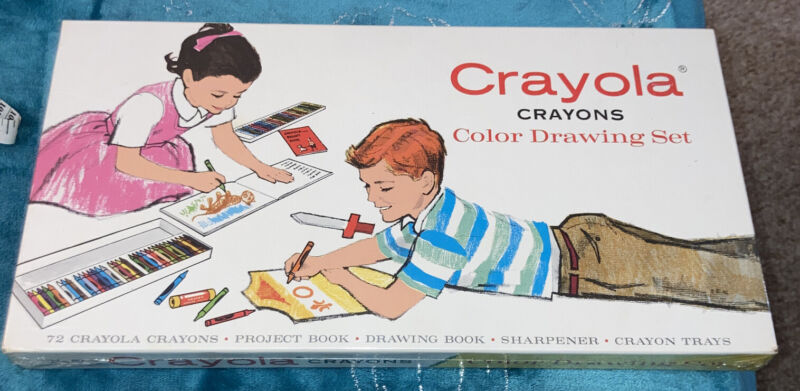 NEW SEALED- Vintage 1958 Crayola Crayons Color Drawing Set 72 Colors FAST SHIP