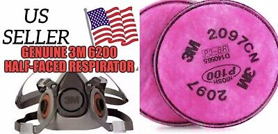 3M 6000 Series 6200 SIZE (M) Half Face Respirator - New Halfpiece With Filters!!