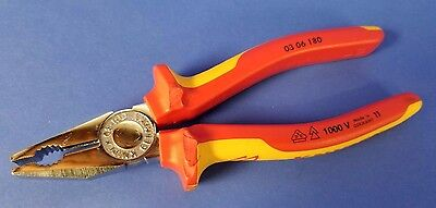 (Knipex 03 06 180 Combination Pliers 180mm VDE Grip 1000V Insulated Good Cond)