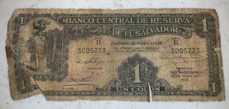 World Currency Early Foreign, Rare El Salvador 1938, 1 Un Colon Note, Series B