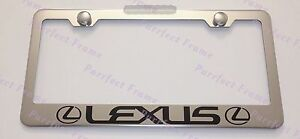 Lexus With Logo Stainless Steel License Plate Frame Rust Free W/ Bolt Caps