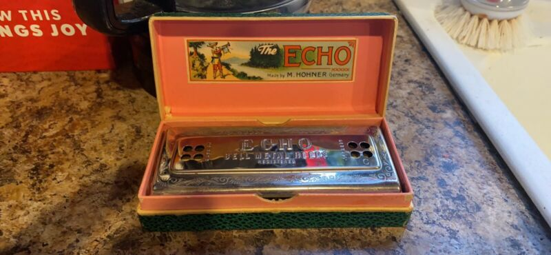 Vintage M. HOHNER ECHO HARP Double Sided Harmonica Keys C&G Germany Bell Metal R