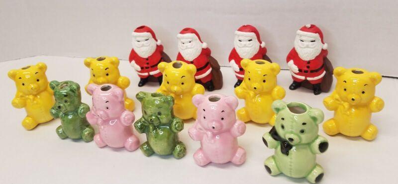 "14 Vtg 70s Ceramic Macrame Beads Glazed Teddy Bears Kids Santa Claus Accents 2"""