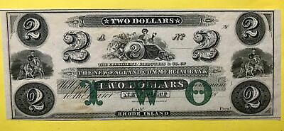 1857 $2 Two Dollar New England Commercial Bank Newport Rhode Island Note
