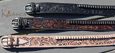 NEW Handmade Western Tooled Leather 44/45 cal Cartridge Belt RIG Gun Ammo 34-52
