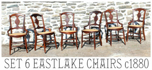 Fabulous Set 6 EASTLAKE Victorian Walnut Farm Table Dining Chairs c1880!