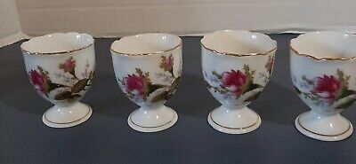 Set of 4 porcelain china egg cups with pink flowers Porcelain Egg Cup Set