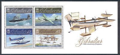 Gibraltar - 2010 souvenir sheet of 4 Aviation cent. #1243 cv $ 9.50 Lot #961