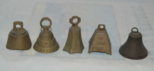 Lot of 5 Vintage Etched India Brass Christmas Bell Ornaments