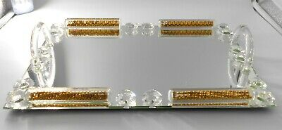 Rectangle mirror tray with crystal and golden shimmer design