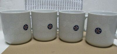 Set of 4 Union 76 White Ceramic Cups Mugs
