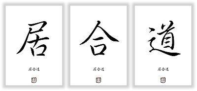 IAIDO asiatische Kanji Kalligraphie Schriftzeichen Symbole Bilder Dekoration