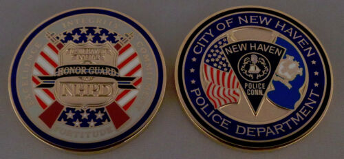 HONOR GUARD New Haven CT Connecticut Police CHALLENGE COIN Integrity/Excellence