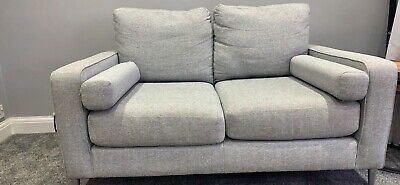 2 Seater Grey Sofa With Bolster Cushions Excellent Condition  With Chrome Legs