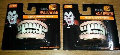 Adult Vampire Teeth (Lot of 2 New happy HALLOWEEN ADULT VAMPIRE TEETH)