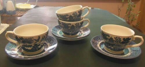 4 Blue Willow Cups & Saucers Churchill Made in England 1980