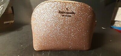 Kate Spade Joeley Small Dome Cosmetic Bag Rose Gold-NEW WITH CARE CARD