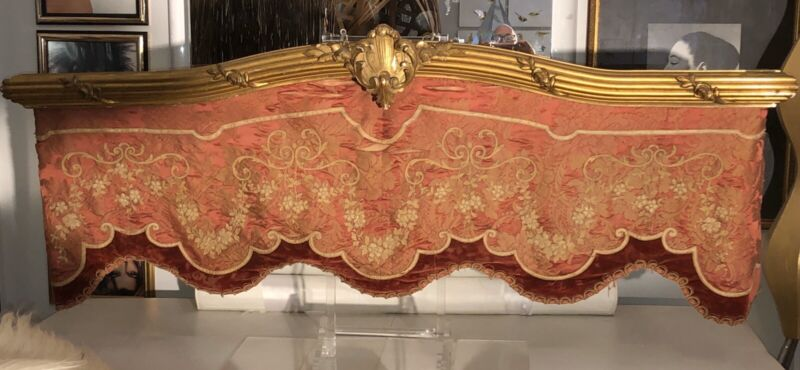 Antique Valance Giltwood  French Pink Silk Damask  Fabric Velvet , Pick up Only