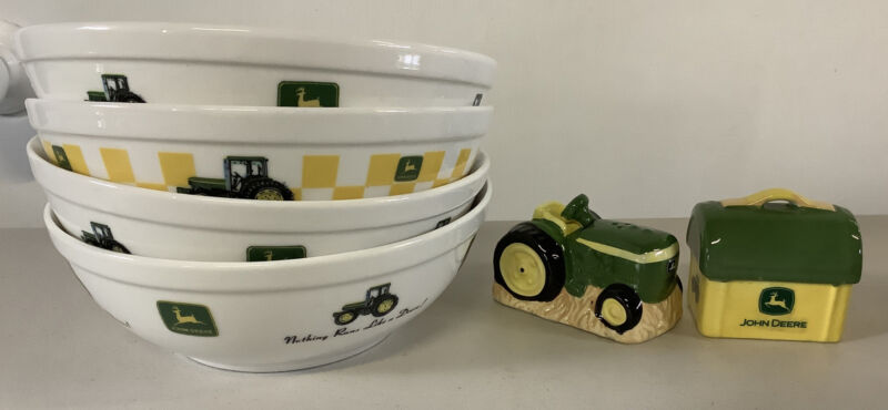Set Of 4 John Deere Bowls And Salt & Pepper Shakers Marketed Gibson-Farm Charm