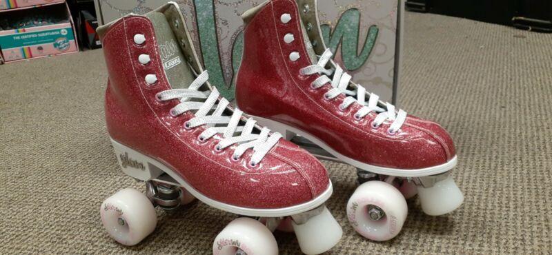 CRAZY Skates Disco Glam Pink and Gold Glitter Roller Skates Women