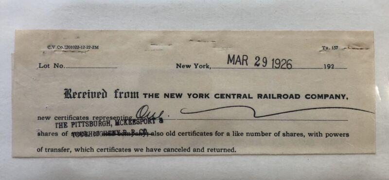 1926 New York Central Railroad Co. Certificate Shares Stock - Antique