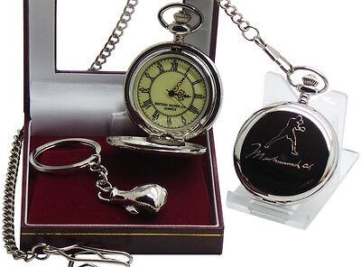 MUHAMMAD ALI Signed Pocket Watch and Boxing Glove Keyring Luxury Set Gift Case