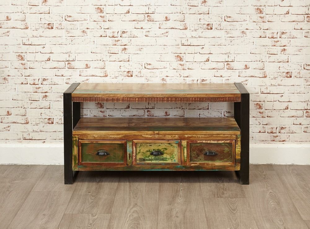 Java Rustic Industrial Reclaimed Television Cabinet