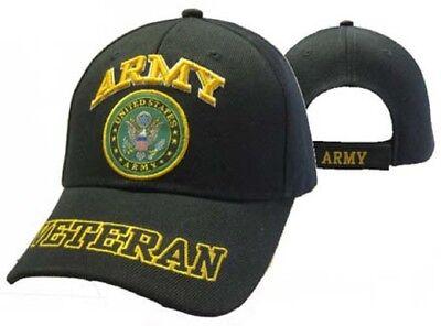 U.S. Army Veteran Shadow Vet Black Emblem Embroidered Cap Hat CAP591DA (TOPW)