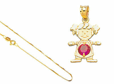 "10k Solid Gold All Months Birthstone Girl Red Stone Pendant 18"" Gold Box Chain"