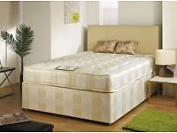 BRAND NEW SINGLE DOUBLE KINGSIZE LUXURY DIVAN BED BASE WITH 8 INCH THICK DEEP QUILTED COIL MATTRESS