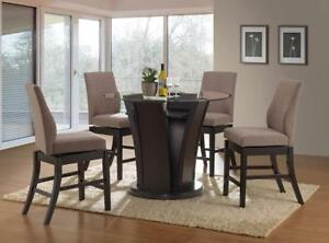 DINETTE SET WITH GLASS TOP AND SWIVEL CHAIRS.- HOME DECOR, FURNITURE BRAMPTON - CALL 905-451-8999(BF-53)