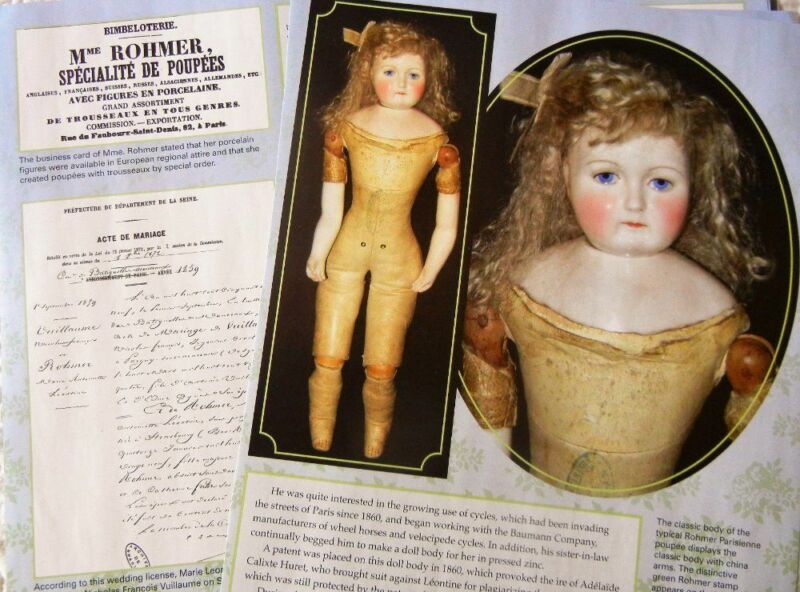 16p History Article  - Antique Leontine Rohmer In-Between French Fashion Dolls