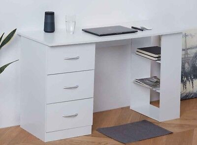 White Home Office Desk Computer Table Workstation with 3 Drawers & 3 Shelves Chr