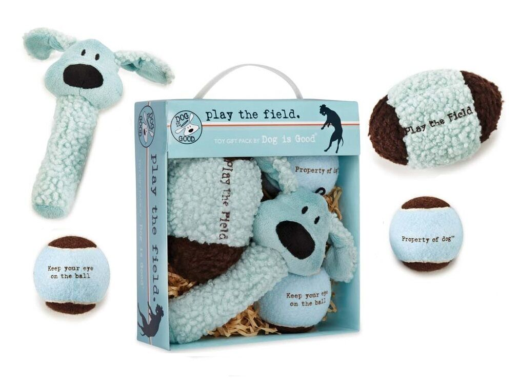 Dog Gift Box 4 Piece Blue Plush & Ball Toy Set AVAILABLE IN
