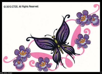 LOWER BACK SHOULDER TEMPORARY TATTOO~PRETTY PURPLE BUTTERFLY & FLOWERS FOR WOMEN Butterfly Lower Back Temporary Tattoo