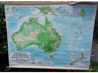 ORIGINAL VINTAGE LARGE SCHOOL MAP AUSTRALIA 1967 *EXCELLENT BRIGHT COLOURS*