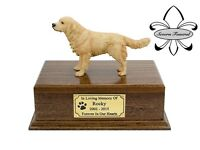 Luxury Solid Wood Mahogany Urn, pet, dog, ashes, memorial, Golden Retriever