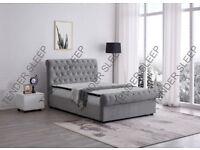 __ BRAND NEW__ DOUBLE PLUSH VELVET SLEIGH BED AND WIDE RANGE OF MATTRESSES