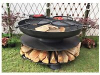 FIRE PIT / BBQ WITH 4 SWING ARMS BBQ RACK RING OF LOGS COLLECTION