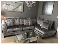 Crushed velvet silver corner sofa