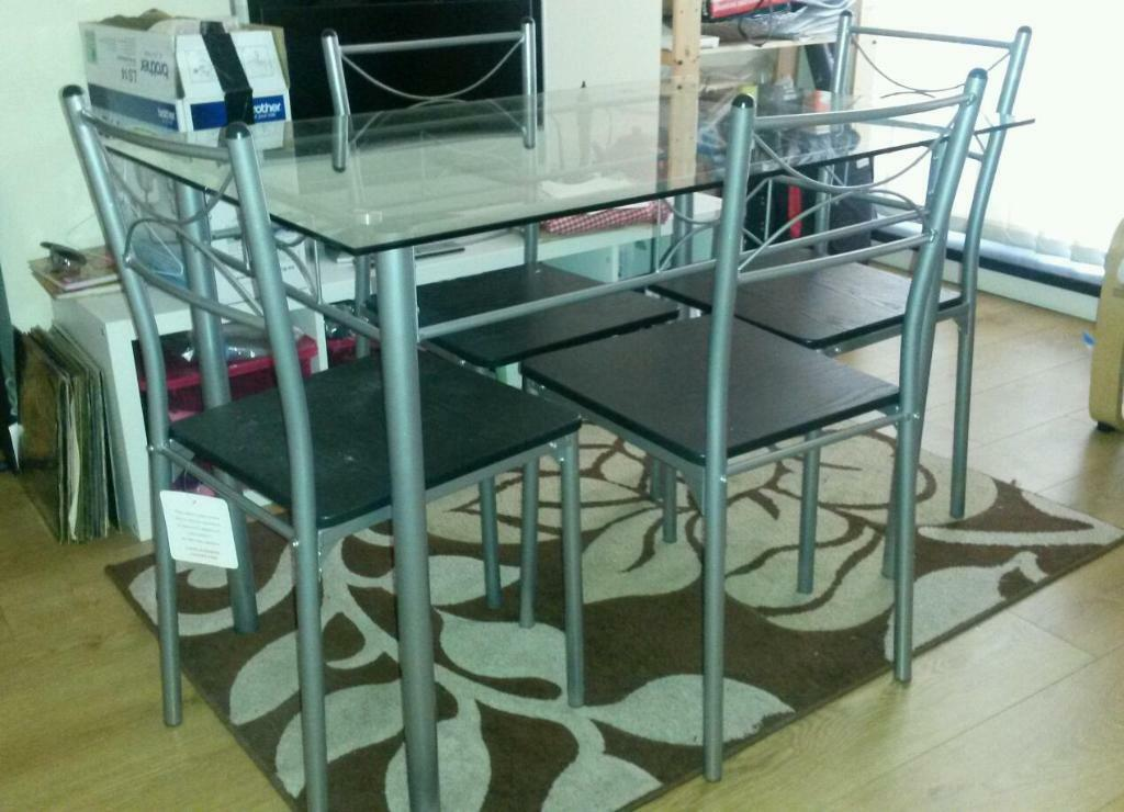 Glass dinning table Four seats in Stockport Manchester  : 86 from www.gumtree.com size 1024 x 740 jpeg 91kB
